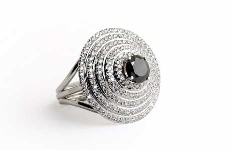 Women rings Royal ring with black diamond