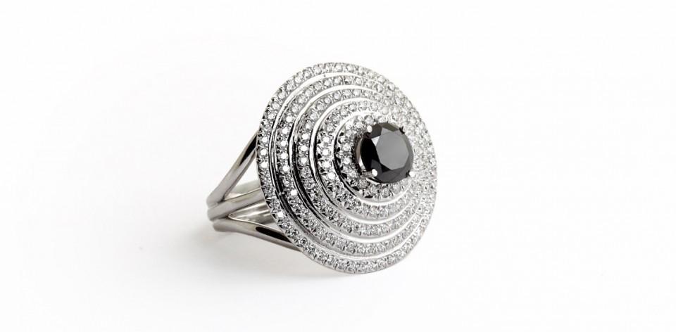 Starik Jewelry Rings Women Rings Royal Ring With Black Diamond